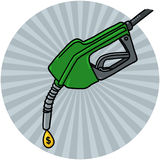 Diesel Fuel Nozzle with oil drop illustration. Diesel Fuel Nozzle with oil drop and dollar sign illustration; Gas Pump Nozzle drawing Stock Photos