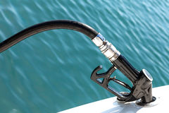 Diesel Pump Nozzle Refilling Boat Royalty Free Stock Images