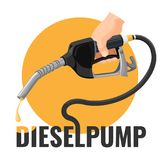 Diesel pump promotional logotype with fuel nozzle and yellow circle. Diesel pump promotional logotype with fuel nozzle with oil drop in human hand and yellow vector illustration