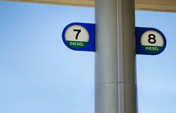 Diesel pump signs Stock Photography