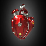 Diesel punk robot techno heart. engine with pipes, radiators and gloss red metal hood parts. isolated. Diesel punk robot techno heart. engine with pipes stock images