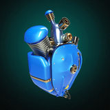 Diesel punk robot techno heart. engine with pipes, radiators and glossy blue metal hood parts. isolated Royalty Free Stock Image