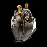 Diesel punk robot techno heart. engine with pipes, radiators and glossy dark bronze metal hood parts. isolated. Diesel punk robot techno heart. engine with pipes royalty free stock image