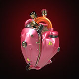Diesel punk robot techno heart. engine with pipes, radiators and glossy pink metallic hood parts isolated. Diesel punk robot techno heart. engine with pipes stock photography