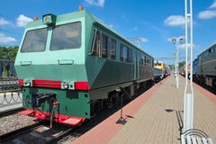 Diesel railcar defectoscopic AMD-Z-001. Moscow, Russia, Museum of Railway Transport of the Moscow railway, Diesel railcar defectoscopic AMD-Z-001, released in Stock Image