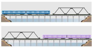 Diesel Railcar train and bridge Stock Images