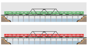Diesel Railcar train and bridge Royalty Free Stock Image