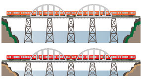 Diesel Railcar train and bridge Stock Photo