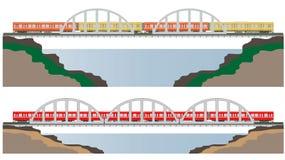 Diesel Railcar train and bridge Stock Photos