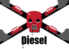 Diesel X Roads. A diesel cars toxic exhaust fumes forming a skull and cross bones, symbolising the dangers of the fuel Royalty Free Stock Photos