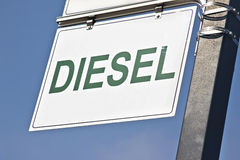 Diesel Sign. A sign says diesel hanging on a metal pole royalty free stock images