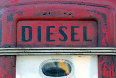 Diesel sign on gas pump Stock Photo
