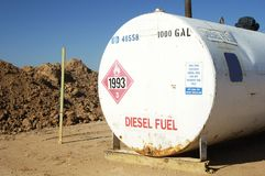 Diesel Storage Tank. Diesel fuel storage tank on a construction site Royalty Free Stock Images