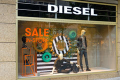 Diesel Store on Kurfuerstendamm. BERLIN - JULY 24: Diesel Store on Kurfuerstendamm. Diesel - Italian design company and brand fashion apparel and accessories Stock Photos