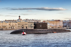 The diesel submarine Kolpino on the roads in the middle of the Neva river opposite English embankment in Saint-Petersburg Stock Photography