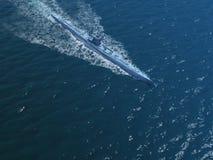 Diesel submarine in ocean. Render of floating german diesel submarine 1940s in ocean Royalty Free Stock Images