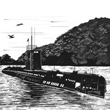 Diesel submarine of post-war construction. Nuclear submarine boat. Engraving retro style. Black and white vector Royalty Free Stock Image