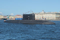 Diesel submarine Vyborg before the water parade. Navy day in St. Petersburg Stock Photo