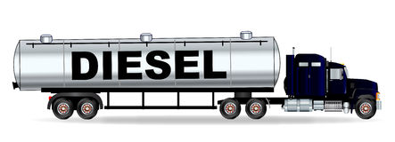 Diesel Tanker Truck. The front end of a large diesel fuel oil truck over a white background Royalty Free Stock Image