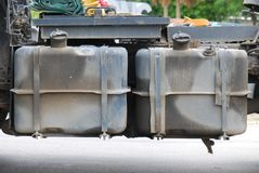 Diesel Tanks. Duo diesel tanks of a trailer tow truck royalty free stock photo