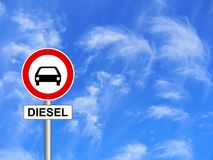 Diesel traffic sign blue sky background. Diesel traffic scandal sign blue sky background vector illustration
