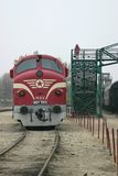 Diesel train. Red engine decorated with red star, Hungary, Central Europe Stock Photos