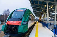 Diesel train of the Belarusian railway PESA 730M DP3 at the Airp. Ort railway station. November 2014 Stock Photo