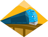Diesel Train Crossing Viaduct Bridge. Illustration of a diesel passenger freight train crossing viaduct bridge set inside diamond shape done in retro style with vector illustration