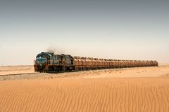 Diesel train in desert Stock Photography