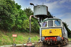 Diesel Train Engine. Alongside water filler at Ropley Station Stock Photography