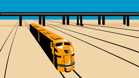 Diesel Train High Angle Retro. Illustration of a diesel train viewed from a high angle done in retro style with train tracks and viaduct bridge royalty free illustration