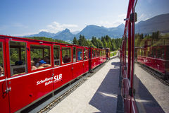 Diesel train railway going to Schafberg Peak (1783m) in St. Wolfgang. Royalty Free Stock Photography