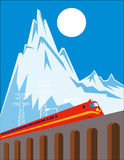 Diesel train on viaduct bridge. Vector illustration of of a diesel train crossing over bridge with mountains in the background vector illustration