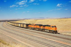 Diesel trains are transporting coal. Used to serve the metallurgical plant Royalty Free Stock Photography