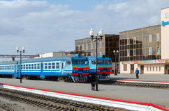 Diesel trains on the ways of train station in Mogilev, Belarus Royalty Free Stock Images