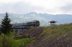 Diesel trein die op de brug over het bergdorp reizen Stock Afbeelding