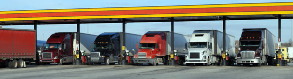 Diesel trucks refueling Royalty Free Stock Images