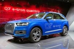 Diesel van Audi Q7 e-Tron Quattro elektrisch elektrisch toestel Royalty-vrije Stock Afbeelding
