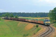Diesel van de vracht trein stock foto's