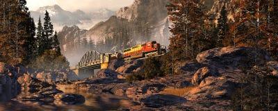 Diesellokomotive auf Stahl gewölbter Brücke Stockfotografie