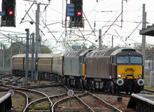 Diesellokomotiven der Klasse 57 bei Carnforth Lizenzfreie Stockbilder