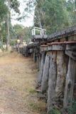 Dieselmotor för grupp för järnvägar Y för blått- och guldarv en viktoriansk att närma sig träbockbron nära Muckleford järnvägsta royaltyfri foto