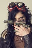 Dieselpunk de Sci fi o muchacha del steampunk fotos de archivo