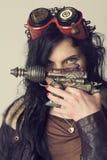 Dieselpunk Sci fi или девушка steampunk стоковые фото