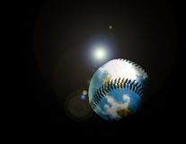 Dieser Baseball schlug sogar Weltraum der Fliegen!!! stock abbildung