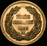 Dieser Kurush Ataturk Turkish Gold Coin Stockbilder