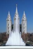 Dieses ist das historische Tempel-Quadrat, das das Haus des mormonischen Tabernacle-Chores ist Der Engel Moroni ist auf die Obers stockfotos