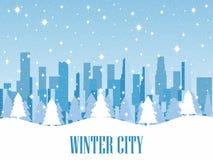 Dieses ist Datei des Formats EPS10 Schneebedeckte Metropole mit Wolkenkratzern Vektor Lizenzfreies Stockbild