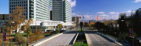 Dieses ist die Skyline auf einem Samstag-Morgen Das Adobe Systems-Aufbauen ist auf dem links Dieser Bereich bekannt als Silicon V Stockbild