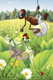 Ameisen- und Libellencharakterkarikatur-Artillustration Lizenzfreie Stockfotografie